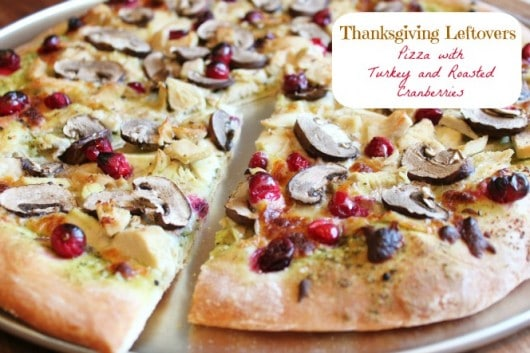 Thanksgiving Leftovers Pizza with Turkey and Roasted Cranberries @createdbydiane