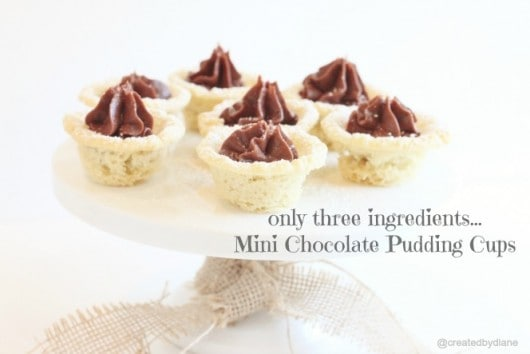 only three ingredients...Mini Chocolate Pudding Cups @createdbydiane