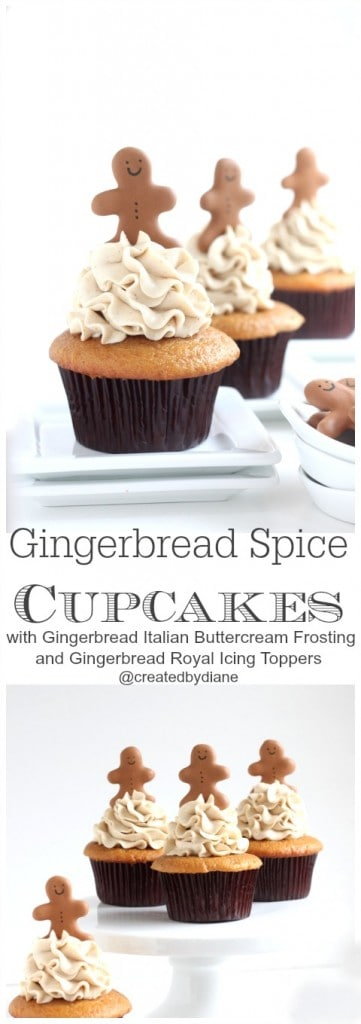 Gingerbread Spice Cupcakes @createdbydiane with complete how-to to make gingerbread royal icing toppers