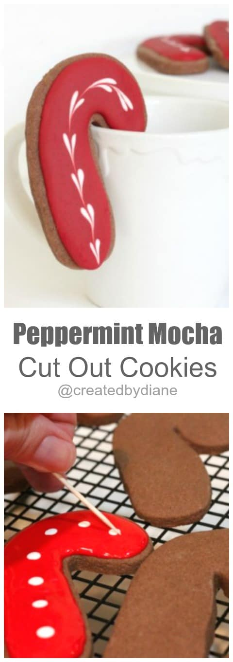 Peppermint Mocha Cut Out Cookies @createdbydiane #Christmas #candycane