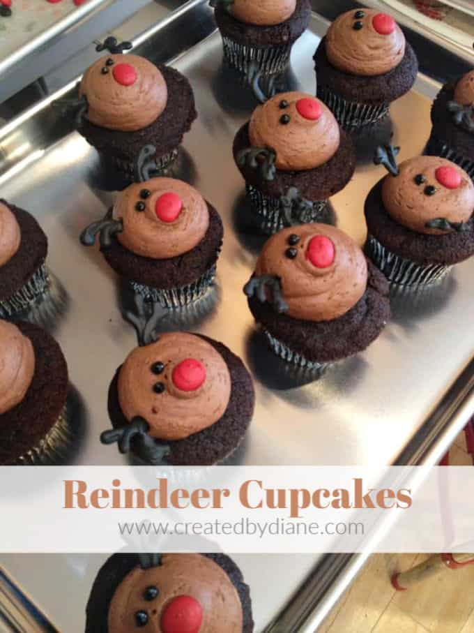 reindeer-cupcakes- RUDOLPH- CHRISTMAS CUPCAKES www.createdbydiane.com
