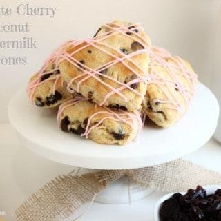 Chocolate Cherry Coconut Buttermilk Scones