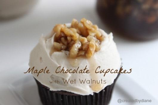 Maple chocolate Cupcakes with Wet Walnuts @createdbydiane