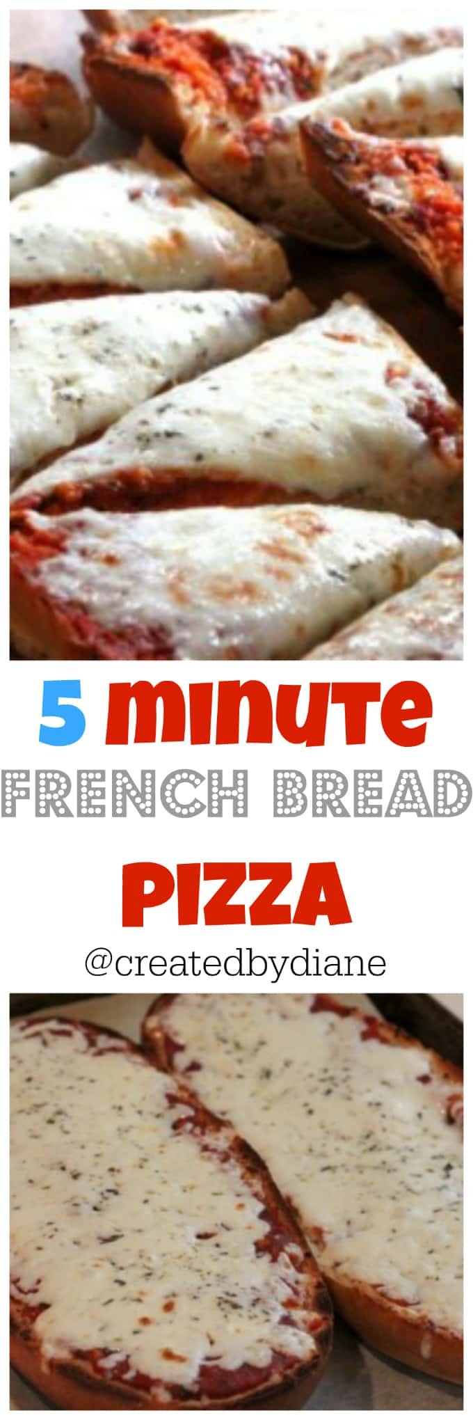 5 minute french bread pizza @createdbydiane
