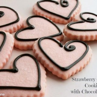 Strawberry Cut Out Cookies with Chocolate Icing