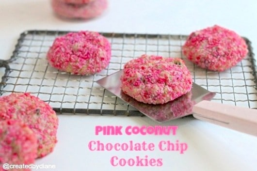 Cookies: tinting coconut pink to cover chocolate chip cookies ...