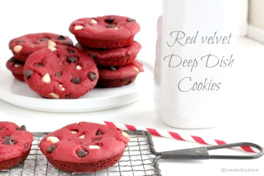 Red velvet Deep Dish Cookies | Created by Diane