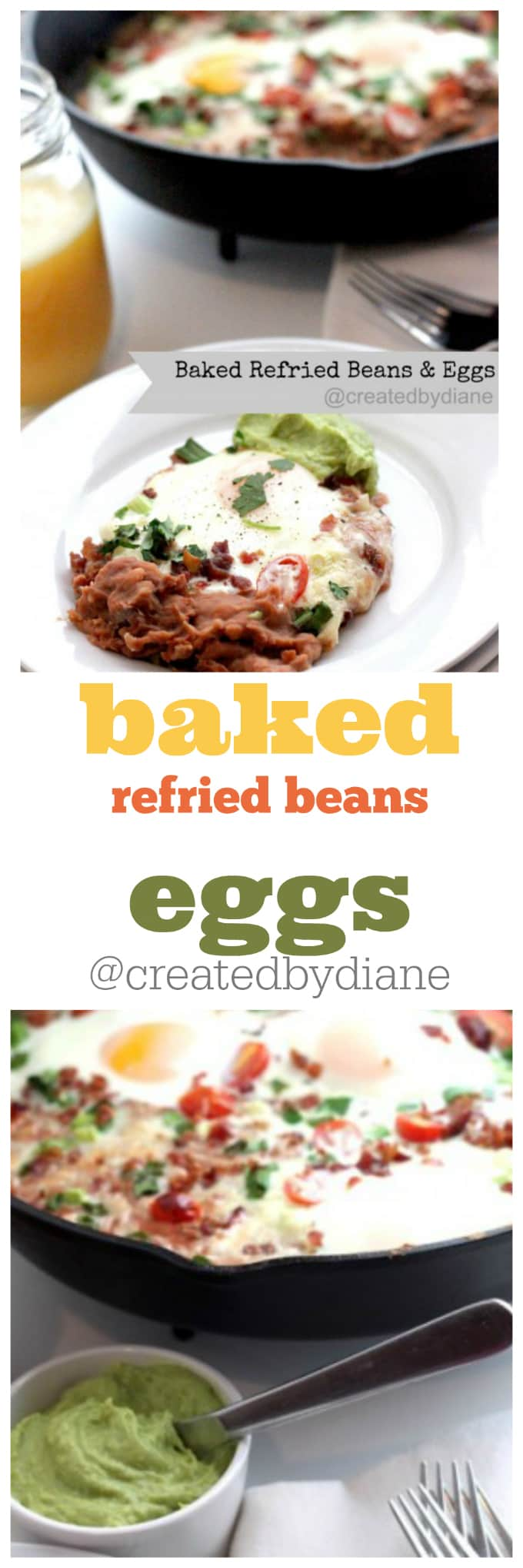 baked refried beans and eggs @createdbydiane