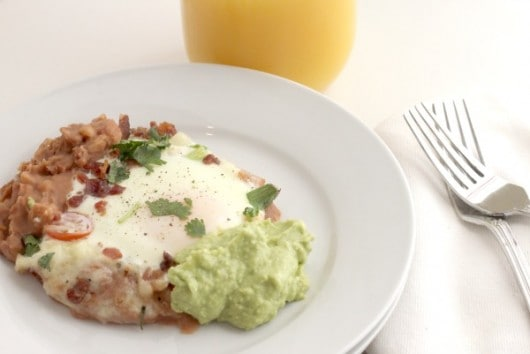 Refried beans and eggs. Low Carb Breakfast