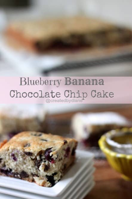 Blueberry Banana Chocolate Chip Cake @createdbydiane