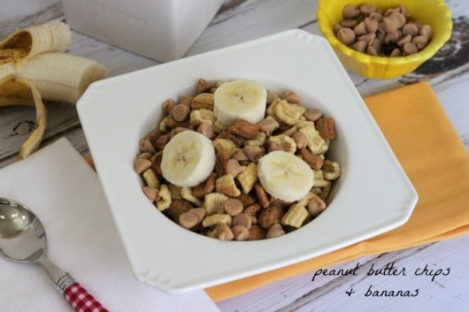 Peanut Butter Chips and Bananas on Honey Squares @createdbydiane