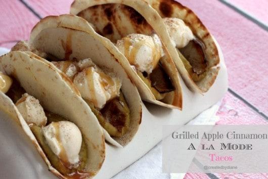 Grilled Apple Cinnamon A la Mode Tacos @createdbydiane