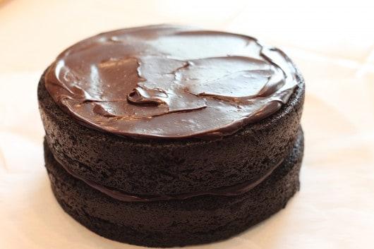 fudge on top of cake