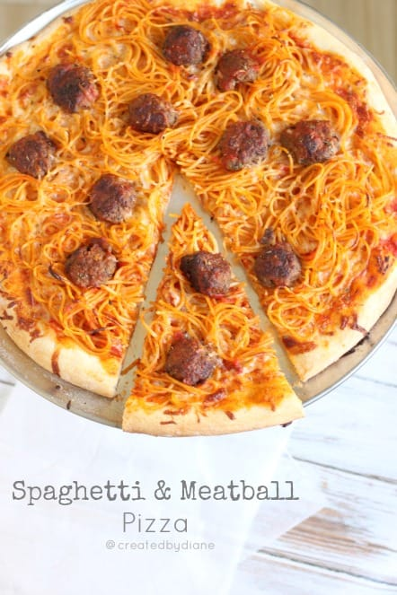 Spaghetti & Meatball Pizza @createdbydiane