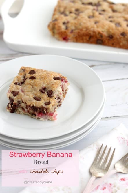 Strawberry Banana Bread with Chocolate Chips @createdbydiane