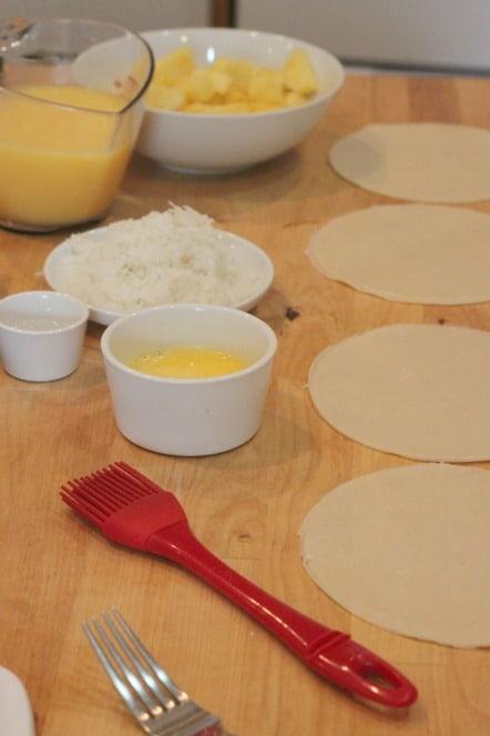 preparing Pina Colada Pies