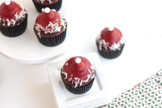 Almond Joy Santa Hat Cupcakes