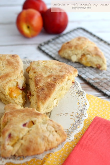 Nectarine and White Chocolate Chip Scones