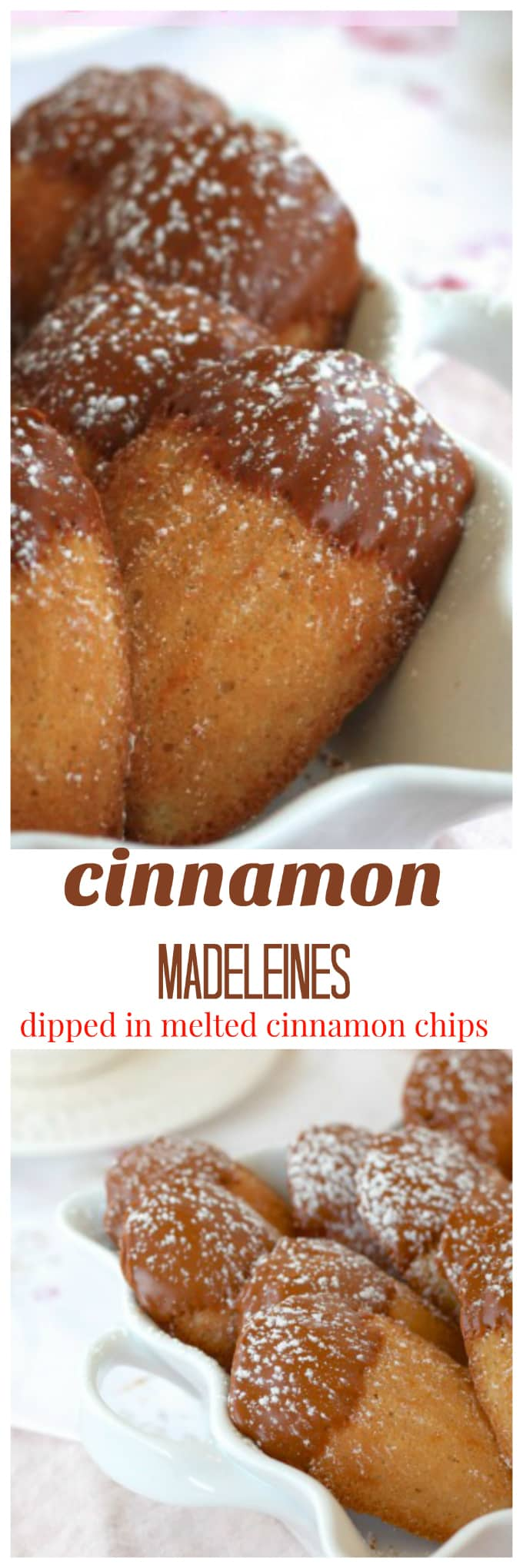 cinnamon madeleines dipped in melted cinnamon chips @createdbydiane