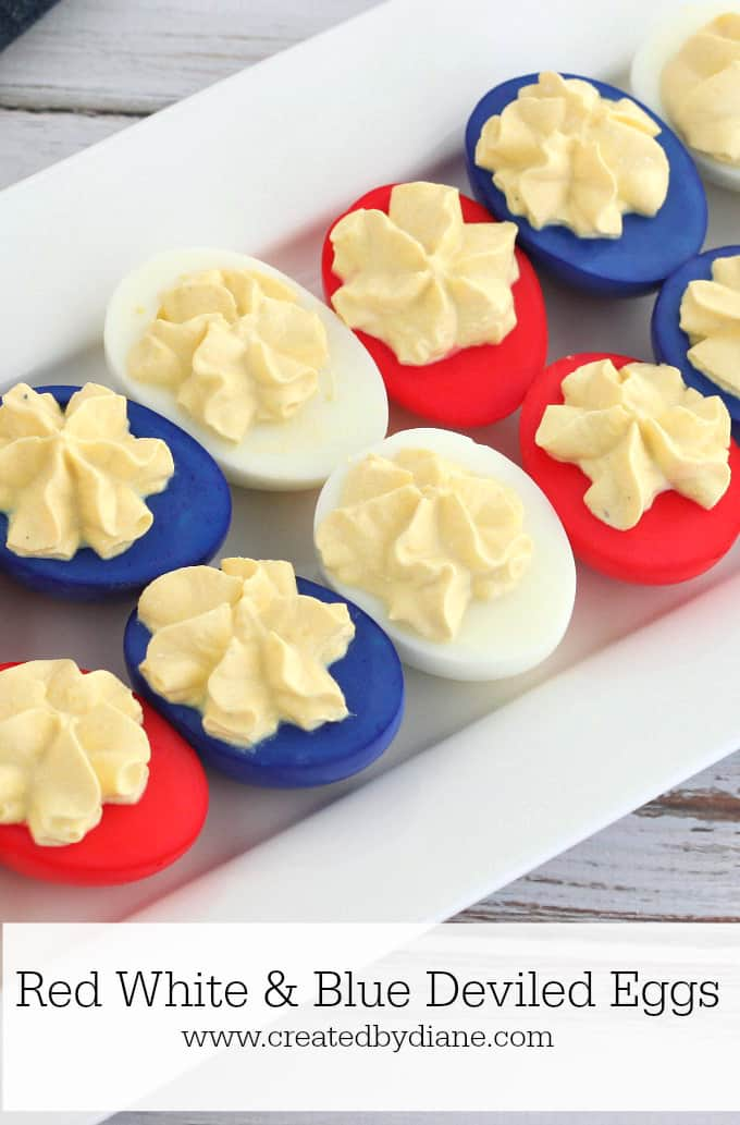 red white and blue deviled eggs #howto #foodcoloring #funfood #patriotic www.createdbydiane.com