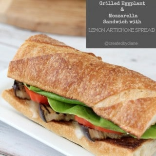 Grilled Eggplant & Mozzarella Sandwich with Lemon Artichoke Spread