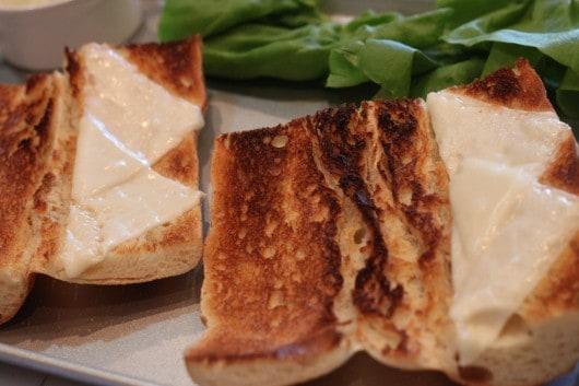 Toasted bread with Sargento Mozzarella Cheese