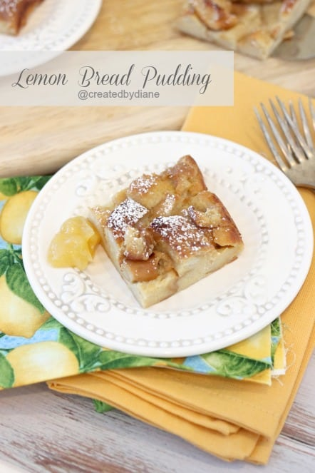 Lemon Bread Pudding @createdbydiane this easy recipe is great with leftover Hot Dog Rolls!!!