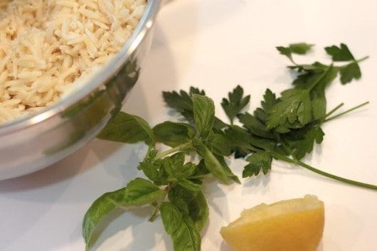 making orzo crab pasta salad