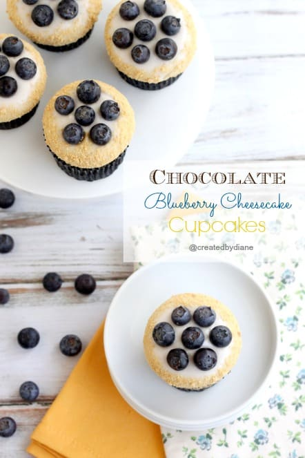 Chocolate Blueberry Cheesecake Cupcakes @createdbydiane