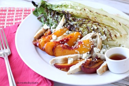 Grilled Romaine Salad with chicken, peaches and blue cheese @createdbydiane.jpg