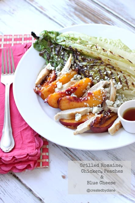 Grilled Romaine, chicken, peaches and blue cheese Salad @createdbydiane