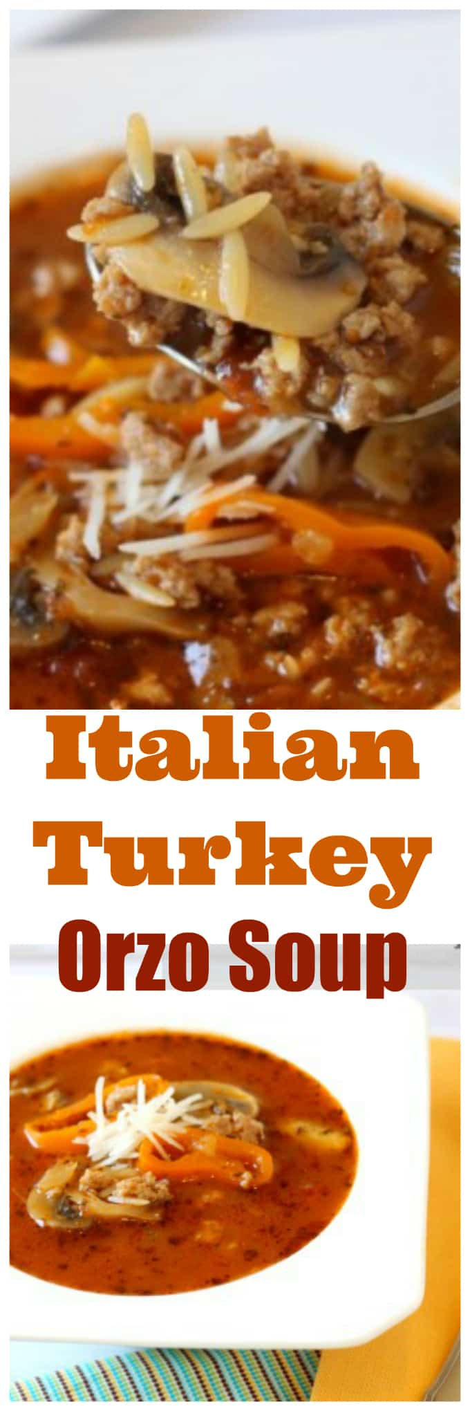 Italian Turkey Orzo Soup made with ground turkey @createdbydiane