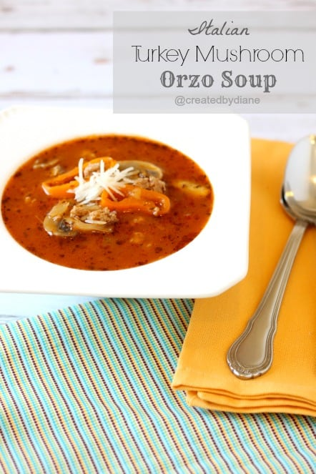 Italian Turkey mushroom Orzo Soup @createdbydiane