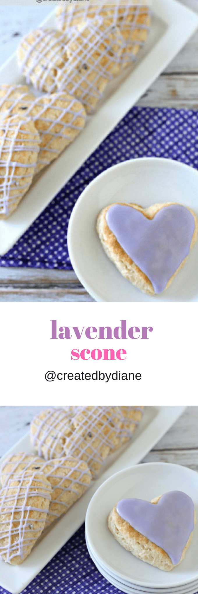 lavender scone recipe with lavender flavored icing @createdbydiane