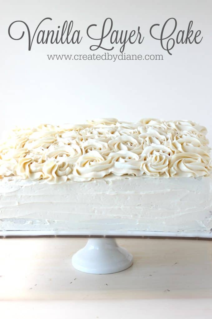 vanilla layer cake with Italian Buttercream Frosting Filled with Pastry Cream tastes amazing perfect cake www.createdbydiane.com