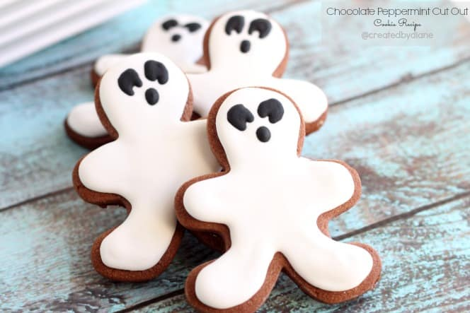 Chocolate Peppermint Cut Out Cookies @createdbydiane #Halloween #peppermint #Ghosts #halloween #peppermint