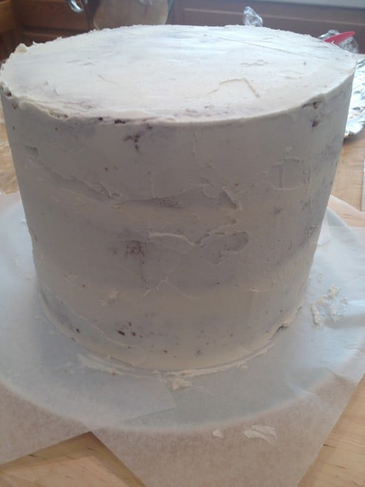 crumb coating a cake