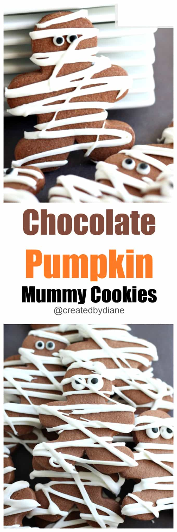 chocolate pumpkin mummy cookies @createdbydiane