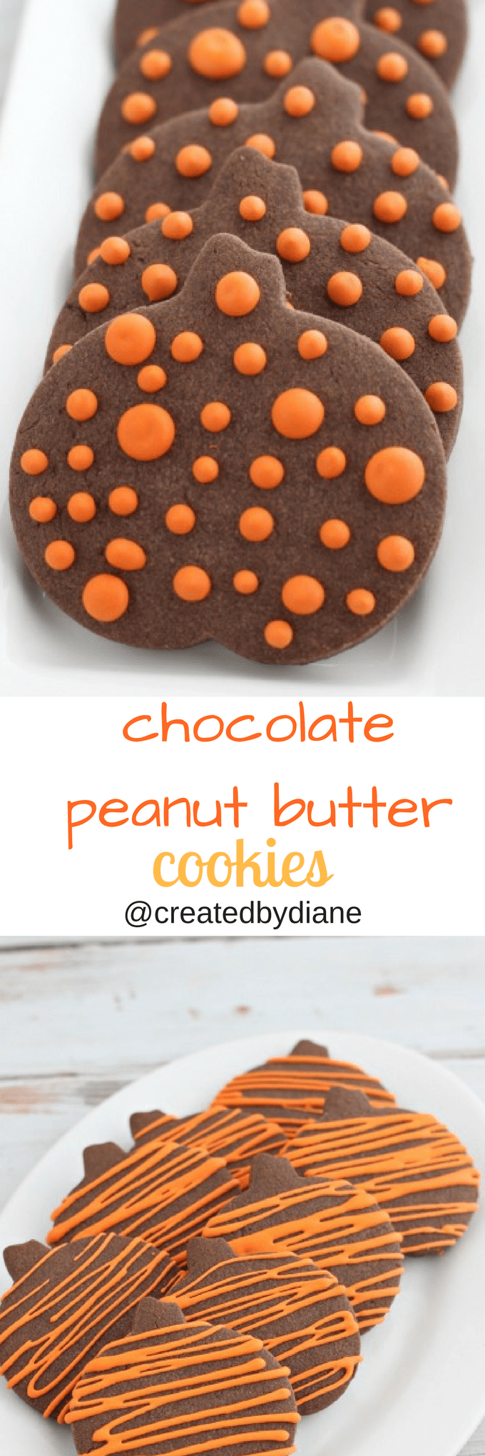 chocolate peanut butter cut out cookies with icing