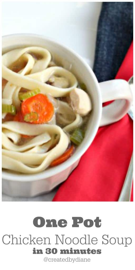 One Pot Chicken Noodle Soup in 30 minutes @createdbydiane