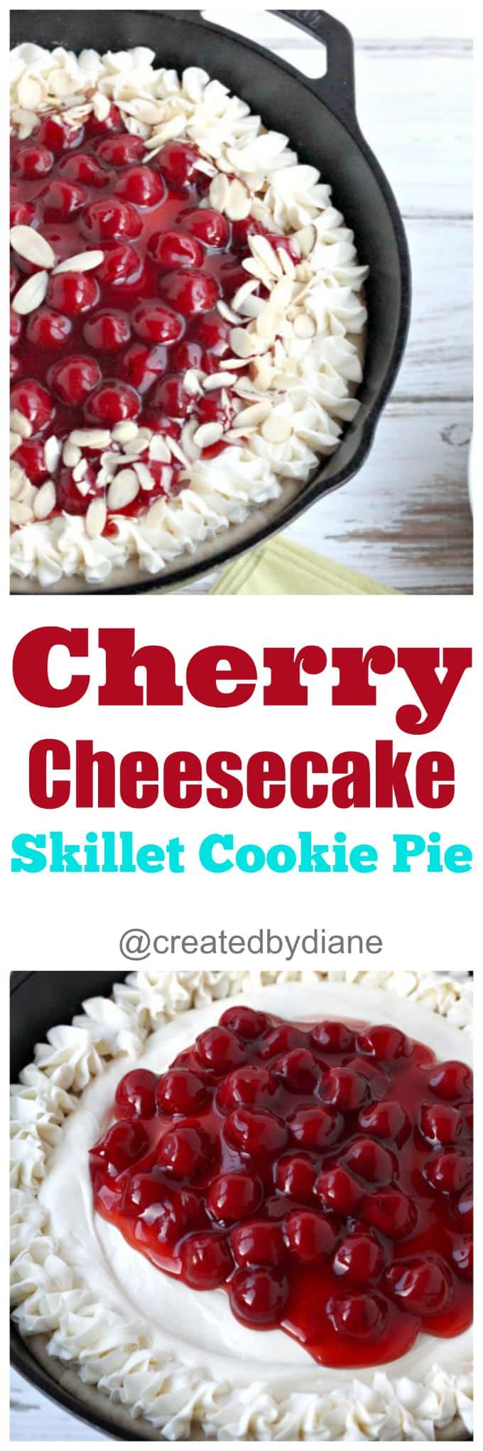 cherry cheesecake skillet cookie pie easy recipe @createdbydiane