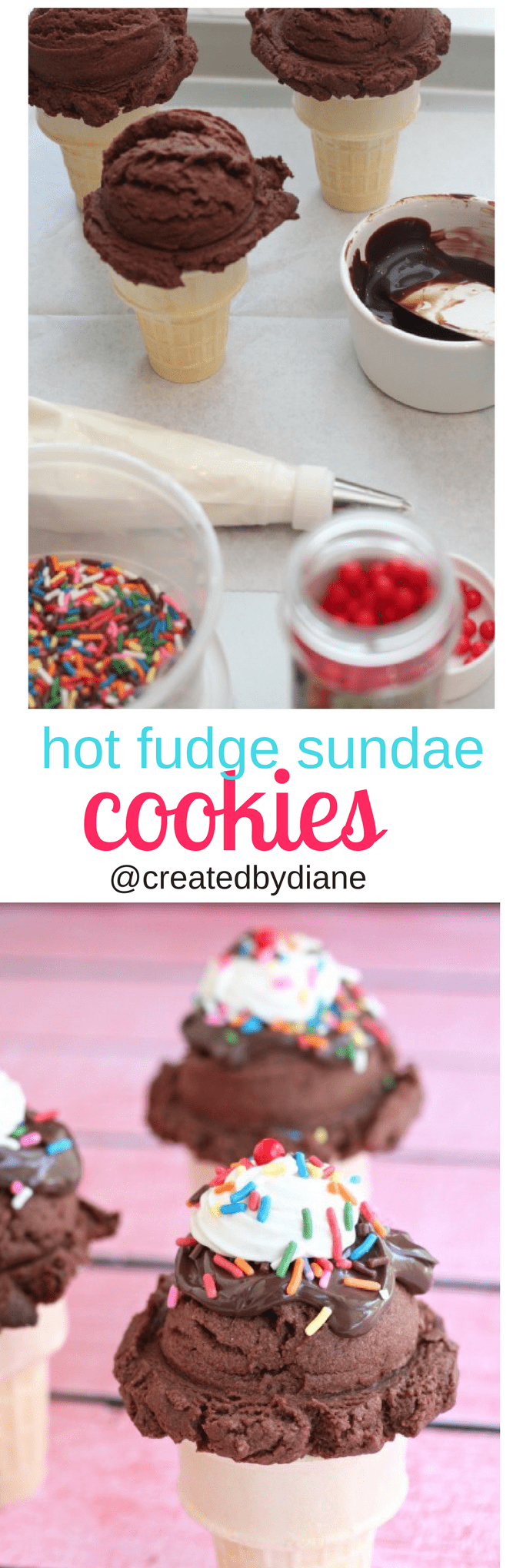 hot fudge sundae cookies on top of ice cream cones @createdbydiane