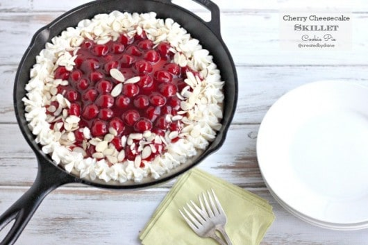 Cherry Cheesecake Skillet Cookie Pie @createdbydiane