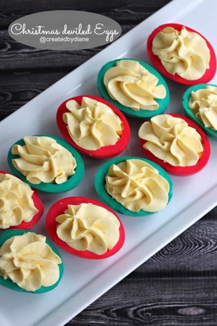 Christmas Deviled Eggs (Healthier) @createdbydiane