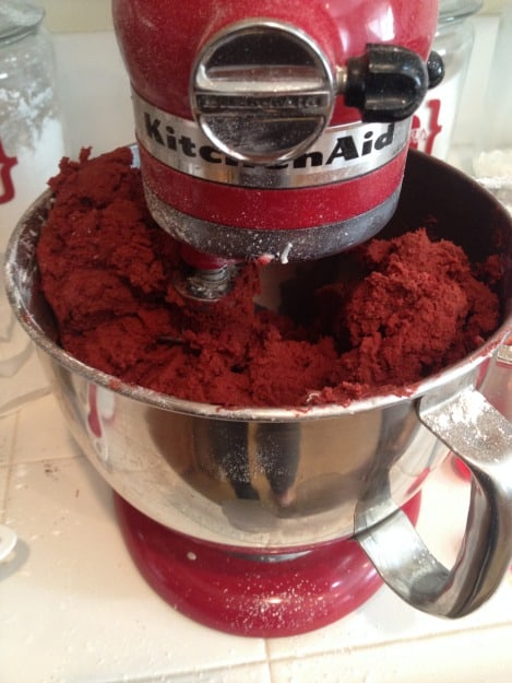 Red Velvet Cookie Dough in Mixer