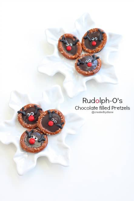 Rudolph-O's Chocolate Filled Pretzels for Christmas @createdbydiane
