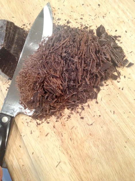 chopping chocolate for Christmas Crack