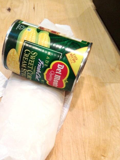 crushing saltines for scalloped corn