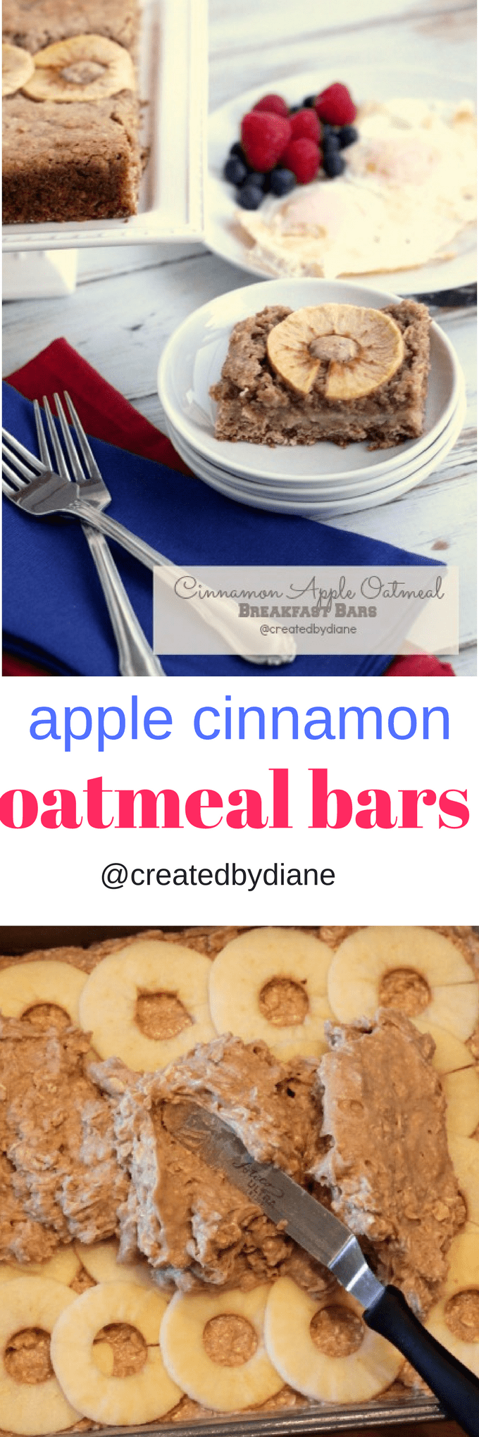 apple cinnamon oatmeal breakfast bars @createdbydiane