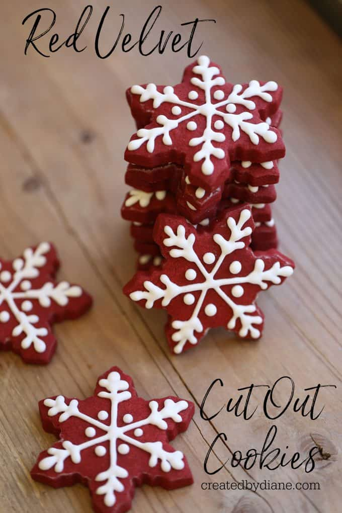 red velvet cookies snowflakes for winter and fun hearts for other days createdbydiane.com